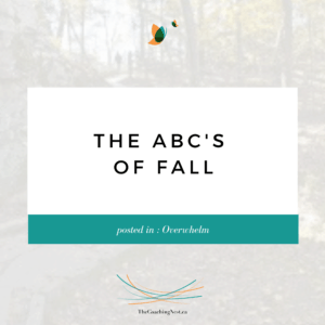 THE ABC'S OF FALL via Shelley Cox, CEO & Founder of TheCoachingNest.ca